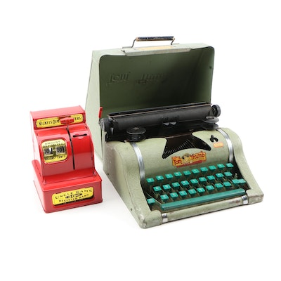 Tom Thumb Typewriter and Uncle Sam's Three Coin Register Bank, 1950's