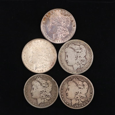 Group of Five Silver Morgan Dollars Including an 1890, 1890-O, and 1890-S