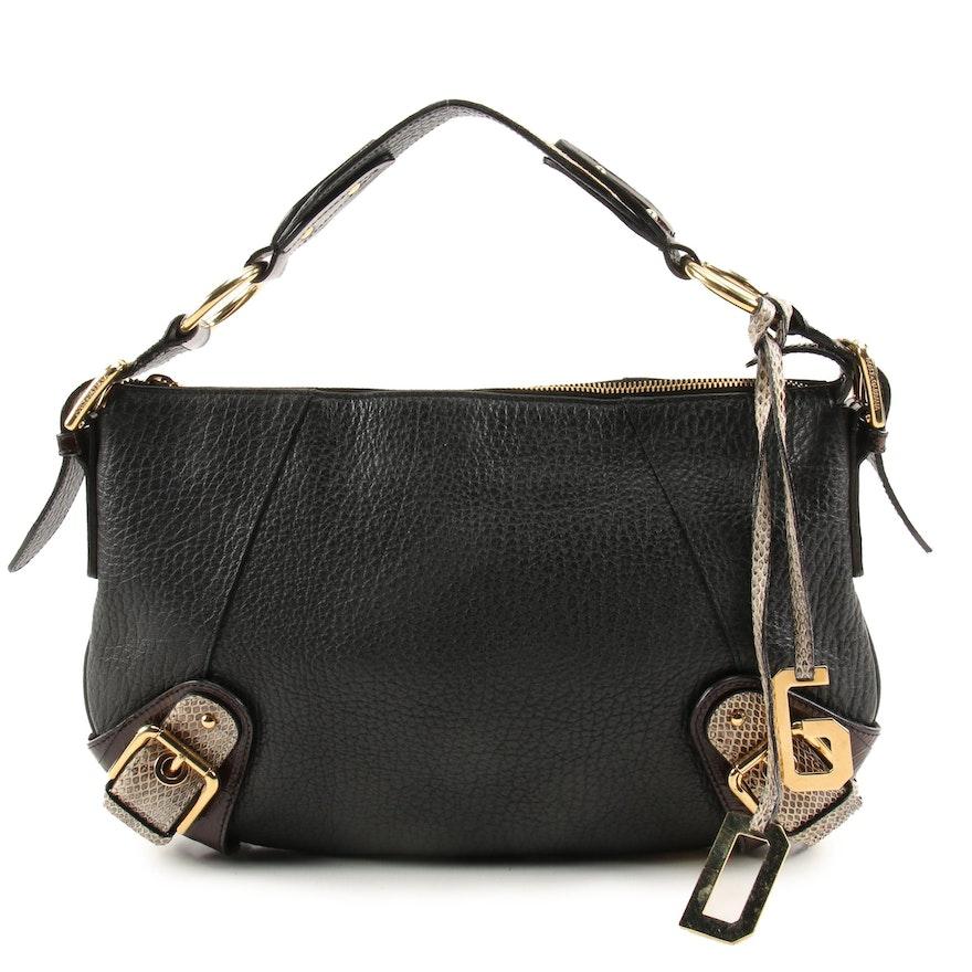Dolce & Gabbana Pebbled Leather Shoulder Bag with Snakeskin and Eel Skin Trim