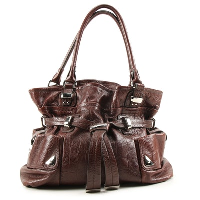 B. Makowsky Satchel in Hickory Brown Embossed Leather