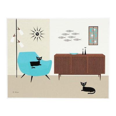 Donna Mibus Digital Print of Mid Century Modern Interior with Cats