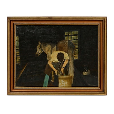 Mylander Oil Painting of Farrier with Horse