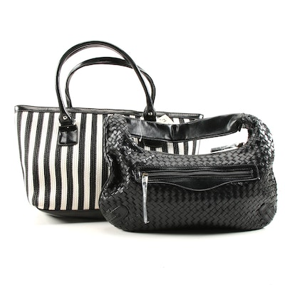 Magid Black and White Striped Tote and Other Woven Black Leather Shoulder Bag