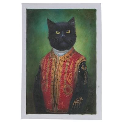 Anthropomorphic Cat Oil Painting after Eldar Zakirov