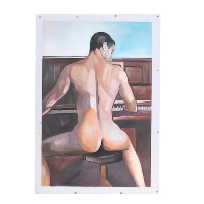 Oil Painting of Seated Male Nude at Piano