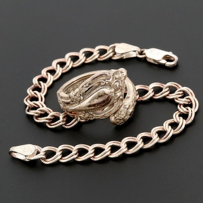 Sterling Silver Double Curb Bracelet and Spoon Ring