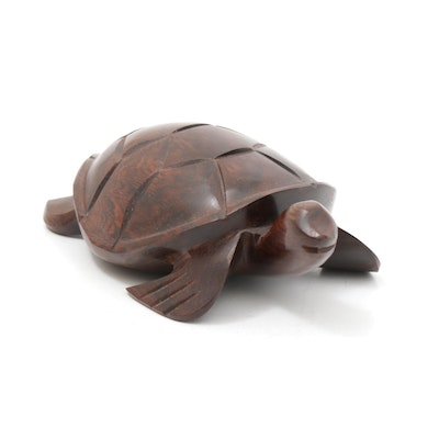 Sculptural Rosewood Sea Turtle Figure