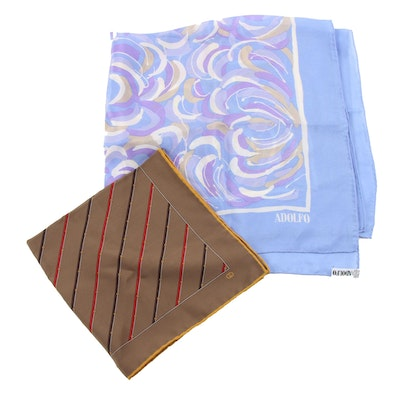 Gucci Silk Handkerchief and Adolfo Silk Scarf