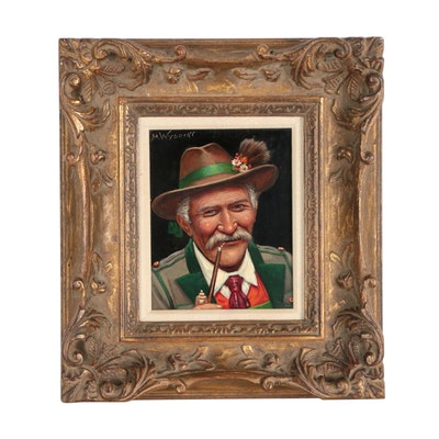 M. Wysocki Oil Portrait of a Bavarian Man Smoking a Pipe