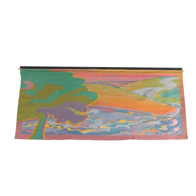Handwoven Abstract Landscape Wool Tapestry, Late 20th Century