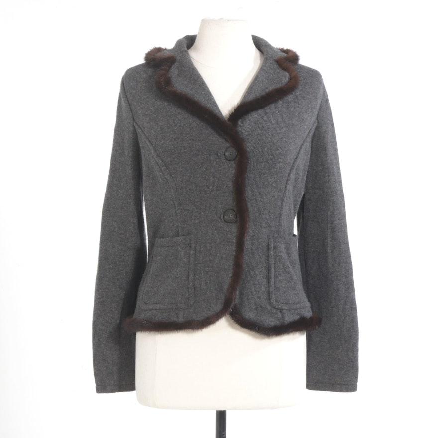 Les Copains Grey Cashmere Knit Sweater Jacket with Mink Fur Trim