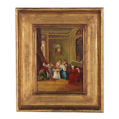 Genre Scene Oil Painting of Women Dressing