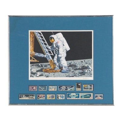 "Paul Calle Commemorative Lithograph and USPS Stamps ""The Conquest of Space"""