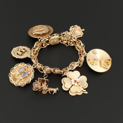 14K Yellow Gold Charm Bracelet with Four Leaf and Parthenon Charms
