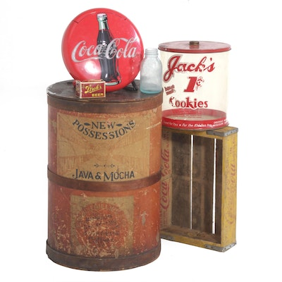 Coca-Cola Wall Phone and Crate with Other Advertising Containers, Vintage