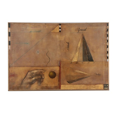 Oil Painting of Geometric Shapes and Forms with Hand and Apple