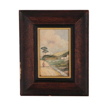 Miniature Watercolor Painting of Figural Landscape, 19th Century