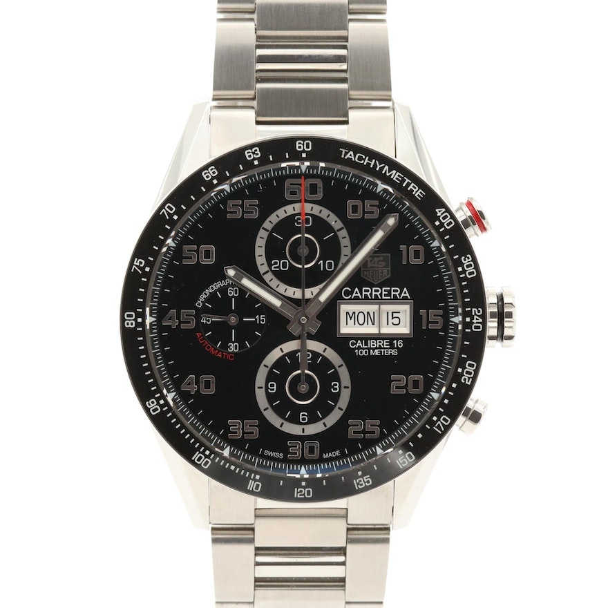 TAG Heuer Carrera Day Date Chronograph Stainless Steel Automatic Wristwatch