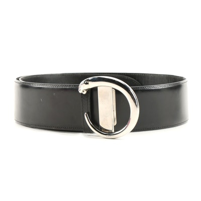 Cartier Panthère Black Leather Belt with Silver Tone Panther Buckle