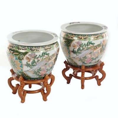 Pair of Chinese Moriage Ceramic Fishbowl Jardinières with Wooden Stands