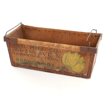Wooden Banana Box Crate from the H. G. Hill Co. of Nashville, Early 20th C.
