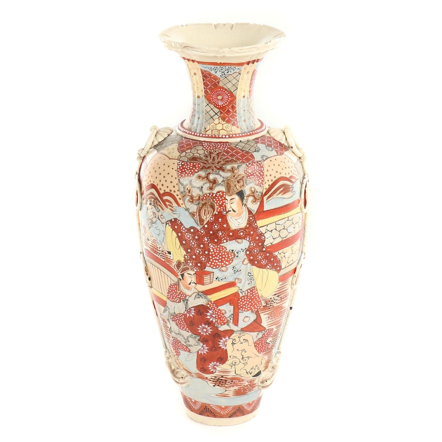 Chinese Satsuma Style Ceramic Floor Vase, Mid-19th Century