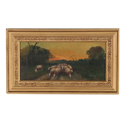 Oil Painting of Pastoral Scene with Sheep, 19th Century