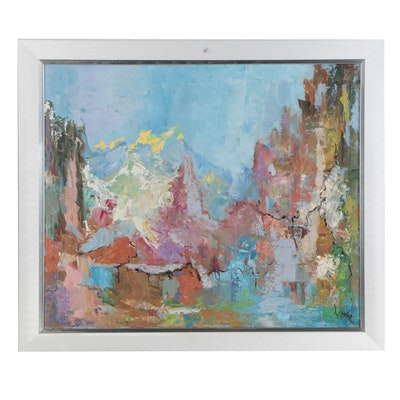Abstract Impasto Oil Painting, Mid 20th Century