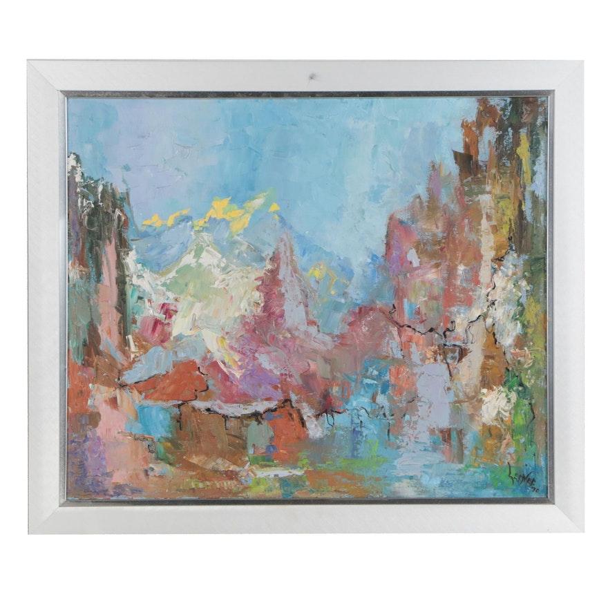 Abstract Impasto Oil Painting, Mid 20th Century