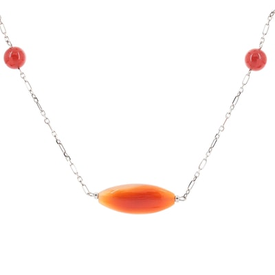 Sterling Silver Agate and Carnelian Endless Station Necklace