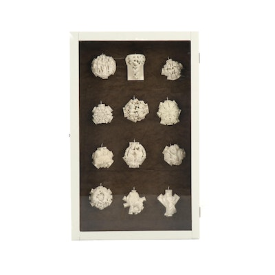 Replica Cast Stone English Gothic Cathedral Bosses in Custom Wood Display Case