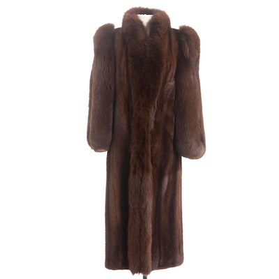 Chestnut Mink and Fox Fur Full-Length Coat