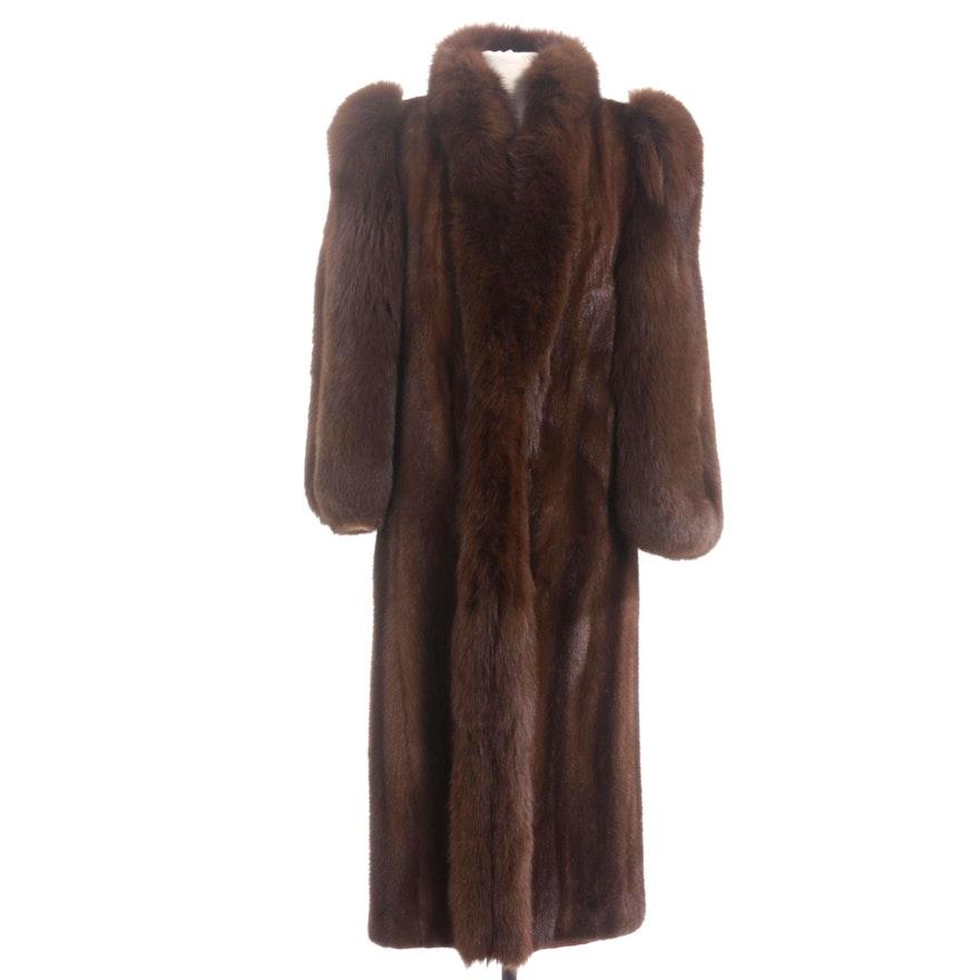 Chestnut Mink and Fox Fur Full-Length Coat