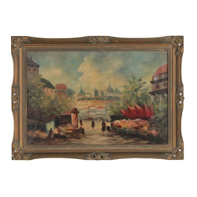Oil Painting of Flower Market Street Scene, Mid 20th Century