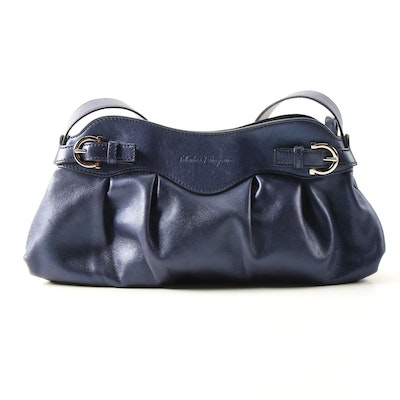 Salvatore Ferragamo Pleated Shoulder Bag in Blue Glimmer Grained Leather