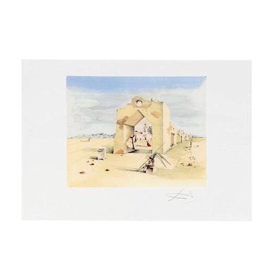 "Offset Lithograph after Salvador Dalí ""Paranoic Village"""