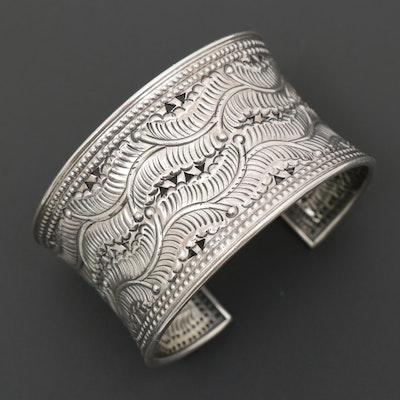 Tooled Sterling Silver Openwork Cuff Bracelet