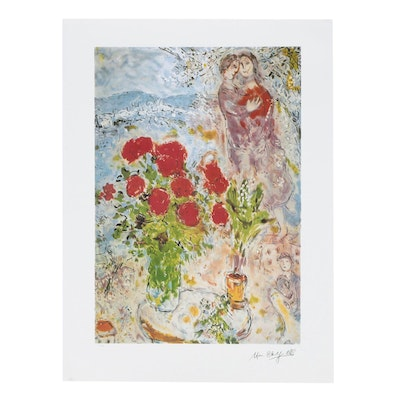 """Offset Lithograph after Marc Chagall """"Red Bouquet with Lovers"""""""