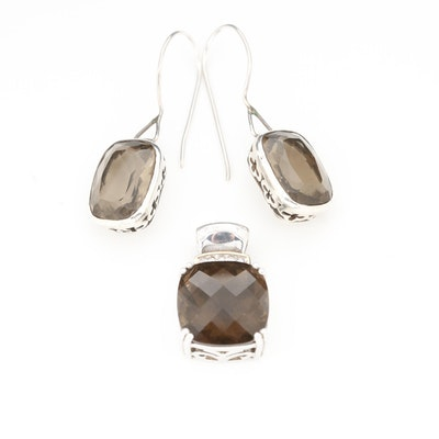 Sterling Silver Smoky Quartz and Diamond Pendant and Earrings
