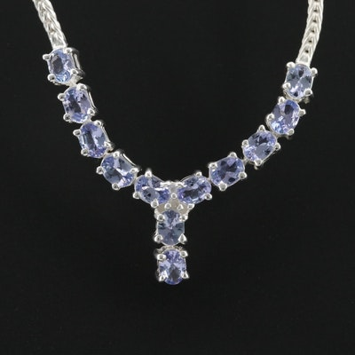 Sterling Silver Tanzanite and Diamond Necklace