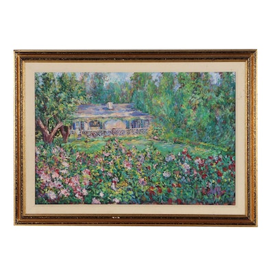 "J. Kamin Impressionist Style Oil Painting ""Garden Bungalow"""