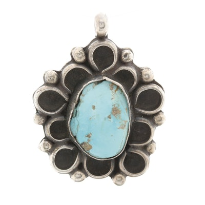 Southwestern Style Sterling Silver Turquoise Pendant