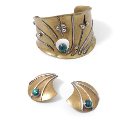 Signed Artisan-Made Brass and Glass Cuff Bracelet with Earrings