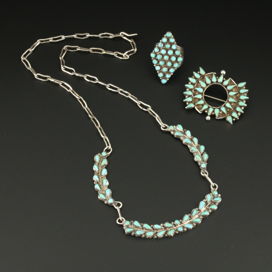 Sterling Silver Turquoise Petit Point Necklace, Ring and Brooch