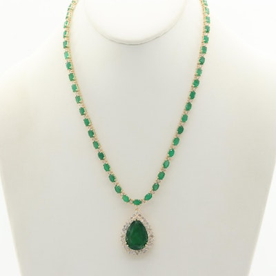 14K Yellow Gold 38.80 CTW Emerald and 3.27 CTW Diamond Necklace