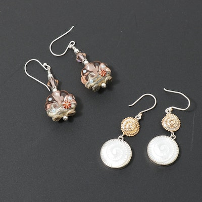 Sterling Silver Art Glass and Mother of Pearl Shell Motif Earrings
