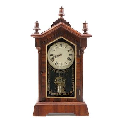 New Haven Clock Co. Victorian Walnut Shelf Clock, Late 19th Century