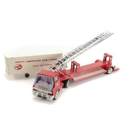 Tonka Pressed Steel Hook N' Ladder Semi Fire Truck and More, Circa 1960s