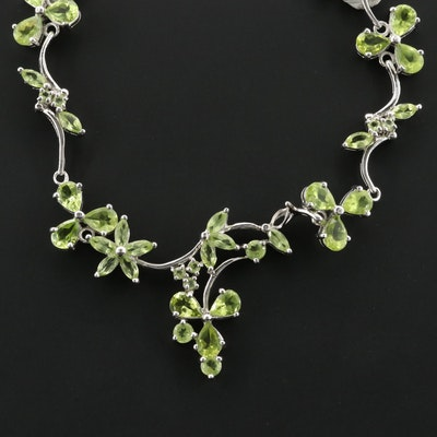Sterling Silver Peridot Floral Necklace