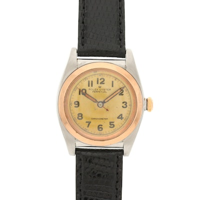Vintage Rolex Bubble Back 18K Rose Gold and Stainless Steel Wristwatch